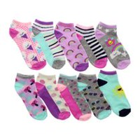 George Girls' 10-Pack No Show Socks 13-4