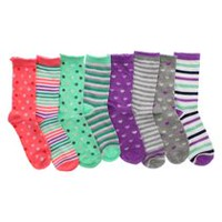 George Girls' 8-Pack Lurex Crew Socks 10-13