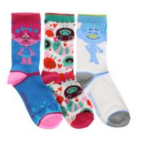 Trolls Girls' 3-Pack Crew Socks 13-4