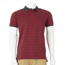 Chemise polo à rayures George pour hommes Rouge L/G