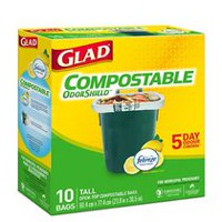 Glad® 100% Compostable OdourShield®  Easy-Tie®  Tall Bags, Lemon Scent