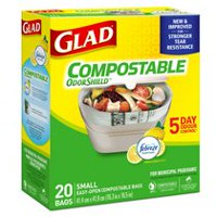 Glad® 100% Compostable OdourShield®  Easy-Tie®  Small Bags, Lemon Scent