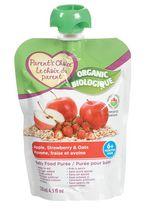 Purée biologique pour bébés Le choix du parent à saveur de pomme, de fraise et d'avoine