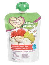 Purée biologique pour bébés Le choix du parent à saveur de pomme, de poire et de riz brun