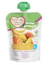 Purée biologique pour bébés Le choix du parent à saveur de banane, de poire, de mangue et d'orange