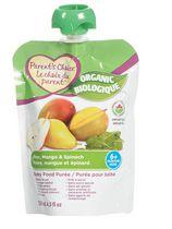 Purée biologique pour bébés Le choix du parent à saveur de poire, de mangue et d'épinard