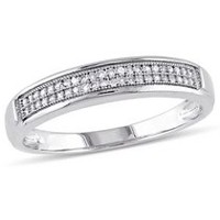 Miabella 1/8 ct Diamond Men's Wedding Band in 10 K White Gold 9