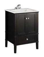 "Windham 24"" Bath Vanity with White Quartz Marble Top Black"