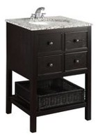 "New Haven 24"" Bath Vanity with Dappled Grey Granite Top"