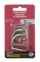 "2"" Satin Nickel Robe Hook 2 Pieces"