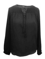 George Women's Solid Fiji Long Sleeve Blouse Blacksoot XXL