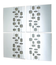 "Mosaic-Set of 4 Mirrors with Transparent design, 14X14"" each"