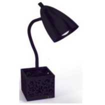 Crate organizer desk lamp with power outlet Black