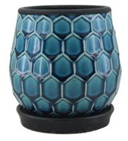 "hometrends 6"" Blue Honeycomb Ceramic Planter Blue"