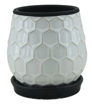 "hometrends 6"" Blue Honeycomb Ceramic Planter White"