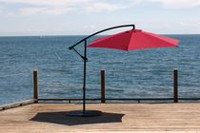 hometrends 10 ft Suspended Canopy Round Offset Umbrella Red