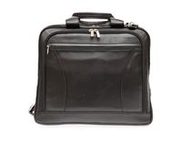 Ashlin Leather Laptop Briefcase with Front Organizer, Black