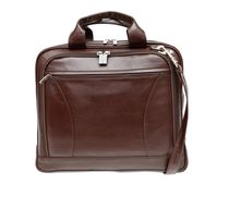 Ashlin Leather Laptop Briefcase with Front Organizer, Brown
