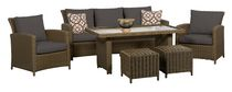 Oakmont 6PC High Table Conversation Set with Grey Cushions