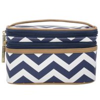 Still Spa Nautical Chevron Double Zip Cosmetic Train Case