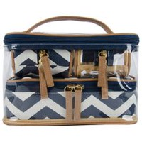 Still Spa Nautical Chevron Cosmetic Case Value Set