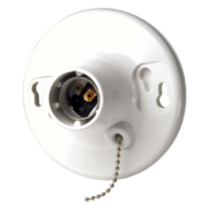 Ceiling Lampholder with Pull Chain 660W-250V, in White