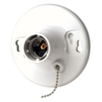 Leviton 660W-250V White Medium Ceiling Lampholder with Pull Chain
