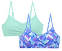 George Girls' 2 Pack Adjustable Strap Bra Green Combo L