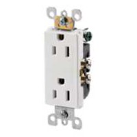 Decora 15A-125V White Duplex Receptacle