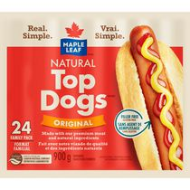 Maple Leaf Natural Top Dogs Original Hot Dogs Family Size