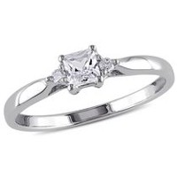 Miabella 0.30 Carat Total Weight Princess Cut Created White Sapphire and Diamond Accent Sterling Silver Promise Ring 5