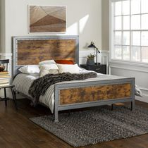 Manor Park Rustic Industrial Metal Queen Bed Frame and Headboard - Multiple Finishes