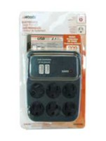 Woods Industries Electronics 2.1A USB 2 with 6-Outlet Surge Tap