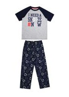 George Boys' 2-Piece Pyjama Set Grey Mix XS
