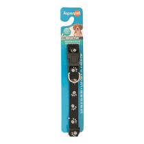 Aspen Reflective Dog Collar - Black with Paws, Medium