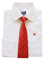 NHL Calgary Boy's Long Sleeve Dress Shirt and Tie 12