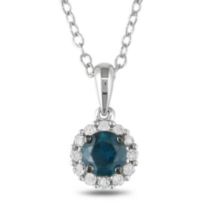 Miadora 0.50 Carat Total Weight Blue and White Diamond Sterling Silver Halo Pendant, 18""