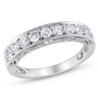 Miabella 1.10 Carat Total Weight Created White Sapphire Anniversary Ring in Sterling Silver 9