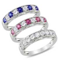 Tangelo 2.40 Carat Total Weight Created Blue; Pink and White Sapphire Ring Set in Sterling Silver 8 8