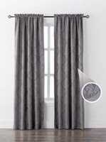 Mainstays Damask Single Window Curtain Silver