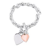 Two-Tone Sterling Silver Double Heart Charm Link Bracelet, 7.5""