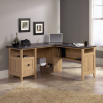 Sauder, L-Shaped Desk, Dover Oak finish with Slate finishes accents, 412320