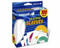 Maxell White CD & DVD Sleeves - 100 Pack