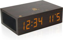 Bluetooth Digital Alarm Clock Speaker ,TYM Wood Alarm Clock w/Built in Microphone, LED Time & Date Display, Paired Streaming or AUX for Phones, MP3 Players, Tablets