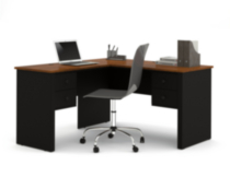 Somerville L Shaped Desk In Black And Tuscany Brown