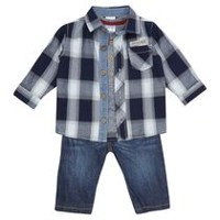 George British Design Baby Boys 3pc Shirt and Jeans Set 6-12 months