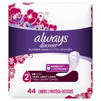 Always Discreet, Incontinence Liners, Very Light, Long Length