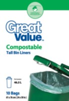 Great Value Compostable Tall Bin Liners