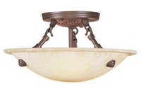 Manchester 3-Light Emperor Chestnut Semi-Flush Mount