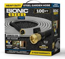 Bionic Steel PRO Garden Hose - 304 Stainless Steel Metal 100 Foot Garden Hose – Heavy Duty Lightweight, Kink-Free, and Stronger Than Ever with Brass Fittings and On/Off Valve